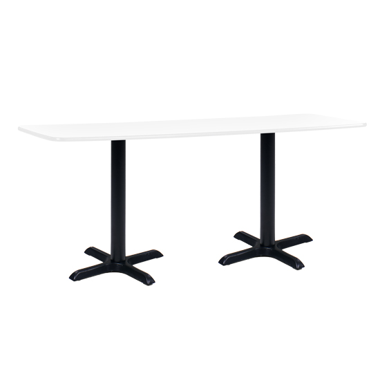 6' Rectangle Cafe Table with Black Base