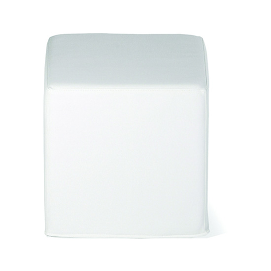 Cube Ottoman - White Leather